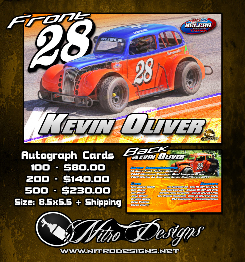 Kevin Oliver Racing/Motorsport Autograph Cards