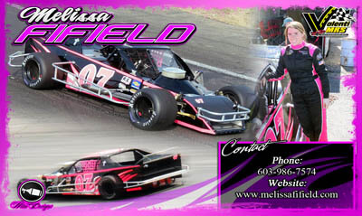 Melissa Fifield Modified Racing Hero/Autograph Cards. NASCAR Whelen Modified Series Most Popular Driver
